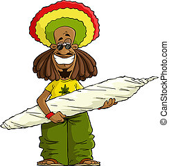 Rastaman with a large marijuana cigarette vector