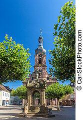 rastatt, rue., -, fontaine, baden-wurttemberg, église, allemagne, alexandre