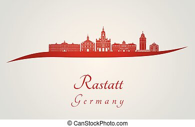 Rastatt skyline in red