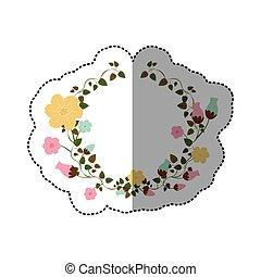 rastejadores, adesivo, flores, ornamento, metade