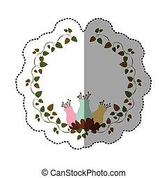 rastejadores, adesivo, flowerbud, ornamento, coloridos
