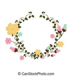 rastejadores, flores, ornamento, metade