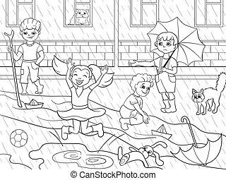 raster, βροχερός , μπογιά , μικρόκοσμος , παίξιμο , καιρόs , παιδιά