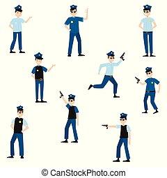raster, 別, 警察, 平ら, set., スタイル, イラスト, 士官, ポーズを取る, 漫画