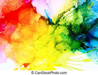 raster, 抽象的, 青, 黄色緑, 赤