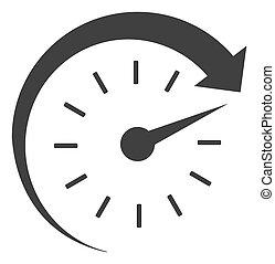 raster, 時間, 前方へ, 平ら, アイコン, シンボル