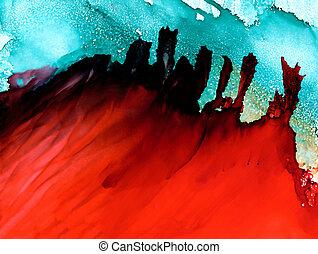 raster, abstrakt, flytande, grön röd