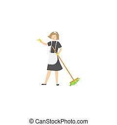 raster, broom., isolé, illustration, bonne, poser, fond, blanc