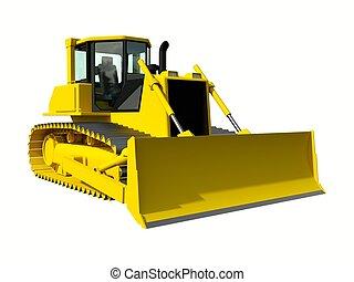 raster, bulldozer., 黄色, machinery., 建設, イラスト, 3次元である