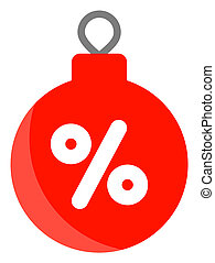 Raster Christmas Discount Ball Icon