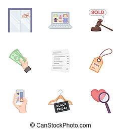 raster, Conjunto, iconos, grande, símbolo, Colección, estilo,  BITMAP, Comercio electrónico, Ilustración, caricatura, acción