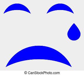 Raster Crying Smiley Icon on White Background