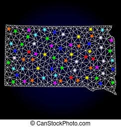 raster, draad, (licht)gloed, kaart, frame, stippen, staat, maas, jaar, dakota, nieuw, zuiden