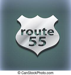 raster, espaço,  55, texto, rota, modernos, Símbolo, estilo,  trendy, desenho,  3D, seu, Rodovia, ícone