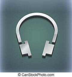 raster, espace, ecouteurs, moderne, symbole., style., branché, conception, texte, 3d, ton, icône