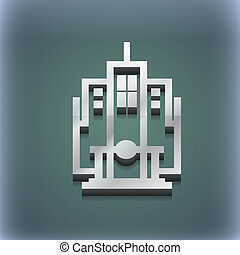 raster, espace, texte, moderne, symbole., style., branché, conception, gratte-ciel, 3d, ton, icône