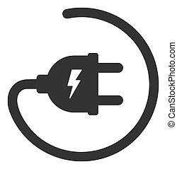 Raster Flat Electric Adapter Icon