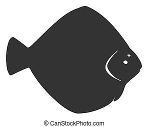 Raster Flat Flounder Fish Icon
