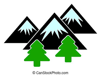 Raster Flat Mountains Forest Icon