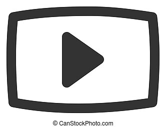Raster Flat Video Screen Icon