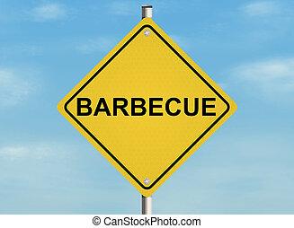raster, illustration., cielo, segno, fondo., barbecue., strada