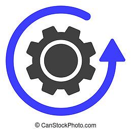 raster, ingranaggio, appartamento, simbolo, rotazione, icona