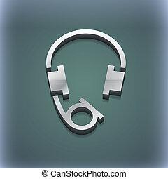 raster, przestrzeń, słuchawki, nowoczesny, symbol., style., modny, projektować, tekst, 3d, twój, ikona