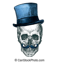 Raster Skull with hat - Beautiful raster image with nice ...