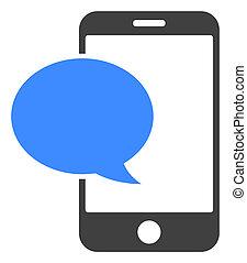 Raster Smartphone Message Flat Icon Symbol