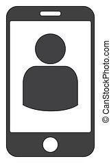 Raster Smartphone User Flat Icon Symbol