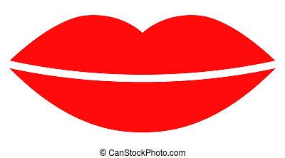 Raster Smile Lips Flat Icon Symbol
