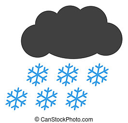 Raster Snow Cloud Flat Icon Symbol