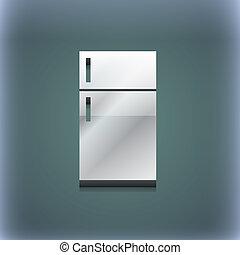raster, spazio, testo, moderno, simbolo., style., trendy, disegno, 3d, tuo, frigorifero, icona