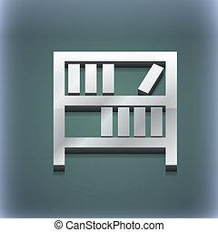 raster, spazio, testo, moderno, simbolo., style., trendy, disegno, scaffale, 3d, tuo, icona