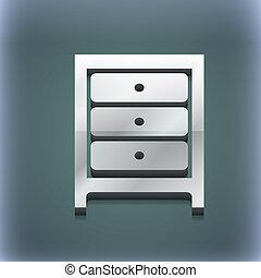 raster, spazio, testo, moderno, simbolo., style., trendy, nightstand, disegno, 3d, tuo, icona