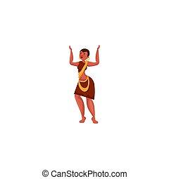 raster, stijl, dress., plat, afrikaan, illustratie, vrouw, ethnische , spotprent