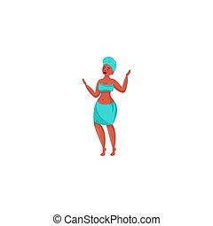 raster, stijl, vrouw, plat, illustratie, afrikaan, turban., spotprent