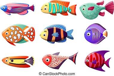 raster, styl, fish, płaski, koral, ilustracja, tropikalny, rafa, fish., rysunek, set.