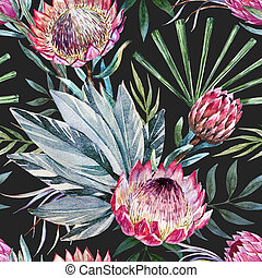 Raster tropical protea pattern