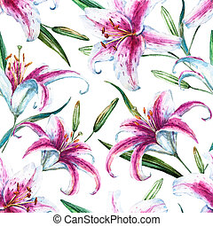 Raster tropical watercolor lilly pattern