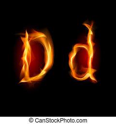 Raster version. Fiery font. Letter D. Illustration on black background