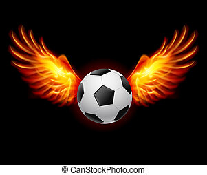 Football-Fiery wings - Raster version. Football-Fiery wings...
