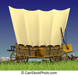 Wild West covered wagon - Raster version of vector...