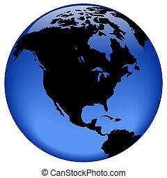 North America - Rasterized pseudo 3d globe view - North...