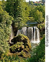 rastoke, 크로아티아, 폭포, 에서, 녹색, 자연