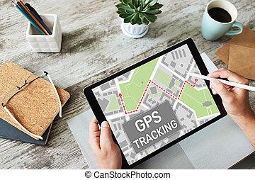 rastrear, dispositivo, global, sistema, gps, screen., posicionar, mapa