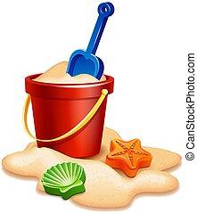 rastrello, pala sabbia, secchio
