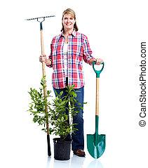 rastrillo, mujer, 3º edad, plant.