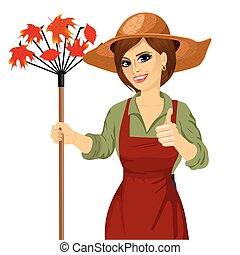 rastrillo, mujer, sombrero, jardín, tenencia