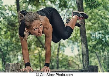 rastro, atleta, ejercitar, hembra, condición física